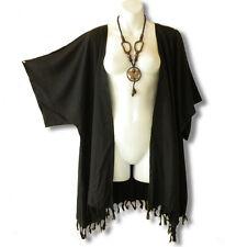 Black Solid Plus Size Cardigan Duster Jacket Kimono Cover up - 2X, 3X, 4X & 5X