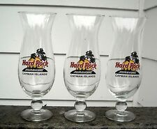 """Lot 3 HARD ROCK CAFE CAYMAN ISLANDS Hurricane Glasses 9.25"""" Tall Collectible"""