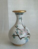 Vintage CHINESE Gold Gilt Copper ENAMEL CLOISONNE Blossoms Mini Vase w repair!