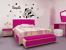 DISNEY MINNIE MOUSE PERSONALISED WALL ART STICKERS NAME+12 STAR Size 140x70cm