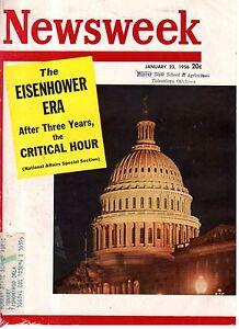 1956 Newsweek January 23-Auca Missionary martyrs;Ike's popularity;Brinks Robber