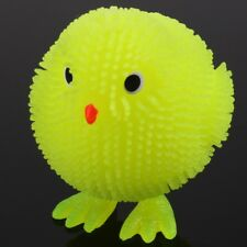 FUN LIGHT UP LED CHICK Kids/Childrens Squeezy Stretchy Yellow Easter Chicken Toy