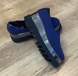 Women's brogue wedge  platform Shoes Blue