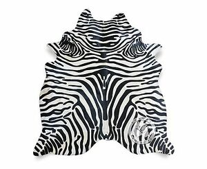 New Brazilian Cowhide Rug ZEBRA COWHIDE RUG 6'x7' Cow Hide Upholstery Leather