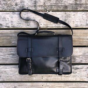 Handsome COACH Leather Laptop Messenger Bag Madison Jet Black Briefcase #5325