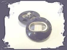2 BOUTONS 22 mm  Pied * Marine et argenté button sewing mercerie 2,2 cm neuf lot
