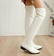 Hot Womens Thigh Boots Round Toe Flat Heel British Retro Tall Boots Plus Size US