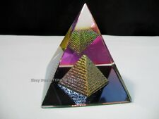 """Feng Shui Egypt Egyptian Crystal Clear Pyramid REIKI Healing Prizm Amulet 3""""H BN"""