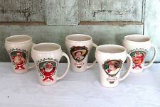 Set of 5 Coca Cola Coke Curvy Advertising Coffee Mugs w Santa & Tray Ladies NEW