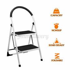 2 Step Ladder Folding Stool Heavy Duty Industrial Lightweight 330lbs Capacity Us