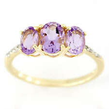 Amethyst Yellow Gold Three-Stone Fine Rings