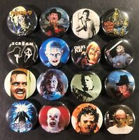 "Horror Icons 1"" Button Pin Set Classic Movie Monster Characters Slasher Scary"