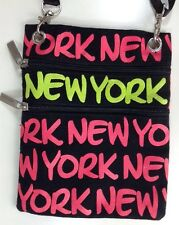 Robin Ruth Cross Body Bag Small I Love New York 3 Pckt 100% Cotton Neon Pink Blk