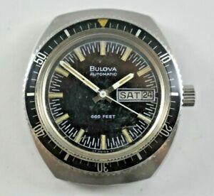 Vintage 1973 N3 Bulova Automatic Calendar 666 Feet Diver Wrist Watch lot.7