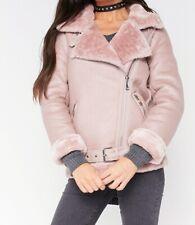 Faux Leather Biker Jacket Fur Collar Size Medium