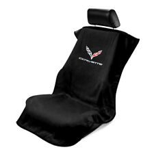 Seat Armour Front Car Seat Cover For Chevrolet Corvette C7 - Black Terry Cloth