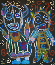 Little Monsters Say Cheese Pop Outsider Folk Art Print 8 x 10 Signed by Artist
