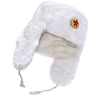 Men`s Ladies Warm Winter Hat EarFlaps Russian Ushanka Soviet soldier Badge White