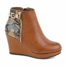 High Heel (3-4.5 in.) Wedge Textured Boots for Women