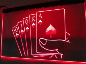 Royal Flush Poker Led Neon Light Sign Pub Bar Casino Play Home Room Decor Gift