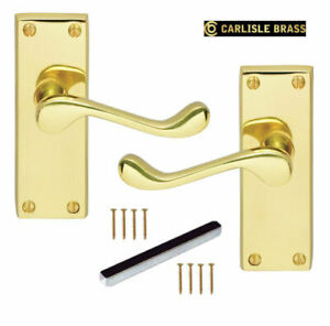 Polished Brass Scroll Door Handles 118mm Lever Latch or Privacy/WC Carlisle DL55