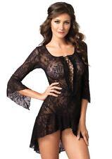 Leg Avenue-Sexy Spanish Lace Mini Dress/B Doll & Thong Set-Black-One Size - L16