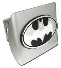 Batman Brushed Metal Hitch Cover (NEW) Black Oval Logo Chrome Trailer Cap MVP