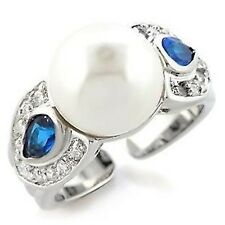 Silver Simulated Sapphire Deco Cocktail Ring White Pearl Rhodium Plated Size 11