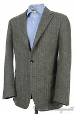 BOGLIOLI Olive Green Herringbone 100% Wool Tweed Blazer Sport Coat Jacket - 40 R