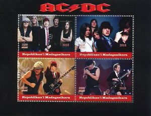 Madagascar Music Stamps 2018 CTO AC/DC ACDC Rock Band Guitars 4v M/S