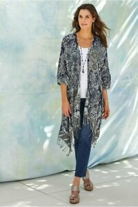 Soft Surroundings Emory Cardigan Small/Medium Blue White Sequin Embroidered
