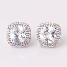 Lovely gift! Wedding white sapphire fit 18k white gold filled stud earring