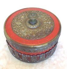 Round German Brass Over Porcelain Trinket Container