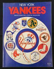1974 NY YANKEES CLEVELAND INDIANS BASEBALL MAGAZINE/SCORE CARD SCORED W/TICKET