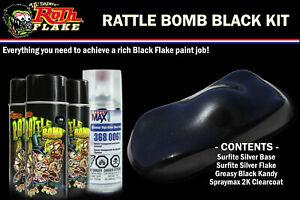 Rattle Bomb Kit - Black Kit - Aerosol Metal Flake, Basecoat, Kandy, Clearcoat