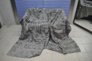 Luxury Gray Astrakhan Skin Fur Throw Real Lamb Fur Blanket / Bedspread Kingsize