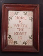 Vintage Wood Framed Cross Stitch Home Is Where The Heart Is Sampler