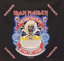 "IRON MAIDEN 1990 OFFICIAL VINTAGE BANDANA FLAG UK IMPORT "" THE FIRST TEN YEARS """