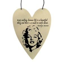 Marilyn Monroe Keep Smiling quote on metal heart wall hanging wall art gift