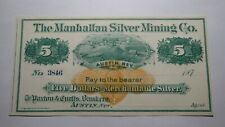 $5 1870's Austin Nevada NV Obsolete Currency Bank Note Bill! Manhattan Silver Co