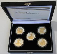 2006 Britannia Golden Silhouette Coin Collection x5 1 oz Fine Silver Proof Coins