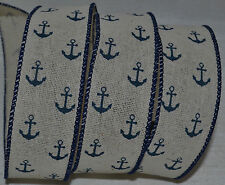 Wired Ribbon~Nautical Woven~Blue Boat Anchor~Ivory~Beach~Ship~Ocean~Wreath~Bow