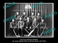 OLD LARGE HISTORIC PHOTO OF VANCOUVER CANADA, THE ASAHI ICE HOCKEY TEAM 1919