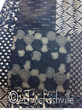 10 Yard Black Paisley Indian Hand Block Print Sewing Material Craft By The Yard