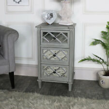 Ornate vintage grey mirrored front 3 drawer bedside chest bedroom furniture
