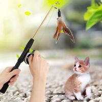 Cat Teaser Pet Kitten Wand Feather Interactive Toys Play Rod Feather Bell Pulley