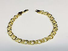 14k Oro Amarillo Doble Círculo Enlace pulsera 2.7 Gr 8 pulgadas 6 mm