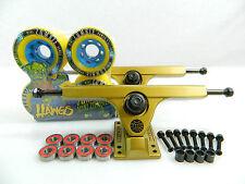 "Caliber II 10"" 50 Degree Gold Longboard Trucks + Mini Zombie Hawgs 70mm Wheels"