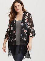 Torrid Women's Black Floral Fringe Kimono Size 3/4