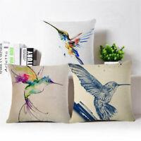 "18"" Graffiti hummingbird Cotton Linen Throw Pillow Case Cushion Cover Home Decor"